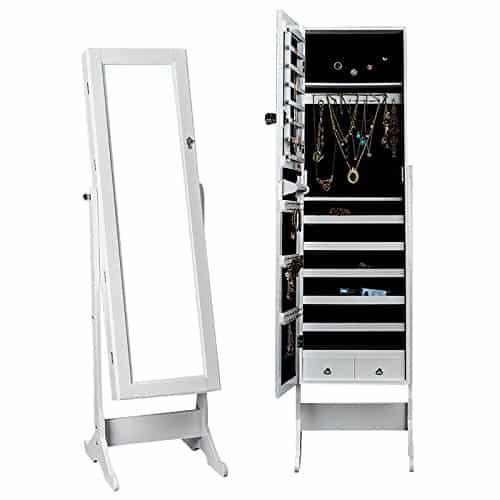 DXP® Schmuckschrank und Standspiegel Zwei In Einem mit Groß Spiegel Abschließbarer Weiß 150 x 47 x 41 cm JCYJ01