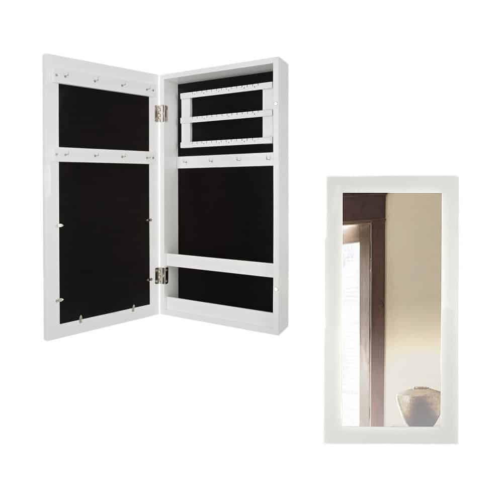 Schmuckkasten mit Spiegel Holz weiß 60 x 30 x 9 cm | 3 Leisten für Ohrringe | 3 Leisten mit Haken | 2 Längsfächer