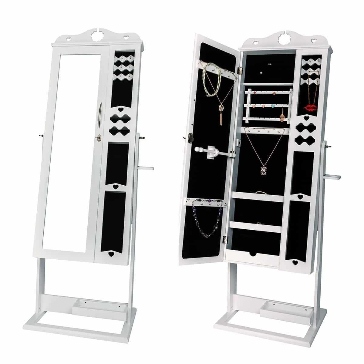 DXP Schmuckschrank Standspiegel Weiß Für Ketten Ringe Ohrringe 167x65x45CM Schmuckkasten