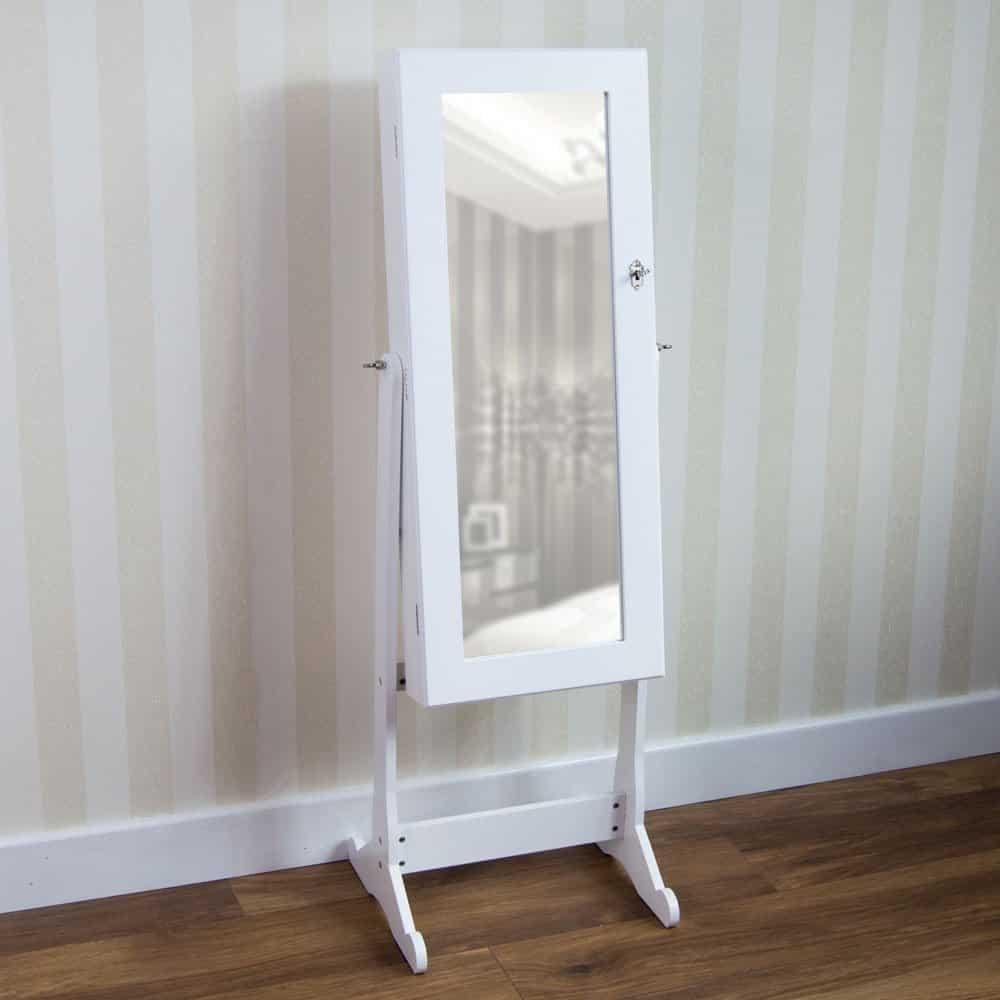 Nishano Schmuckschrank und Standspiegel, Groß, Weiß, Schwenkbar von Vida Designs