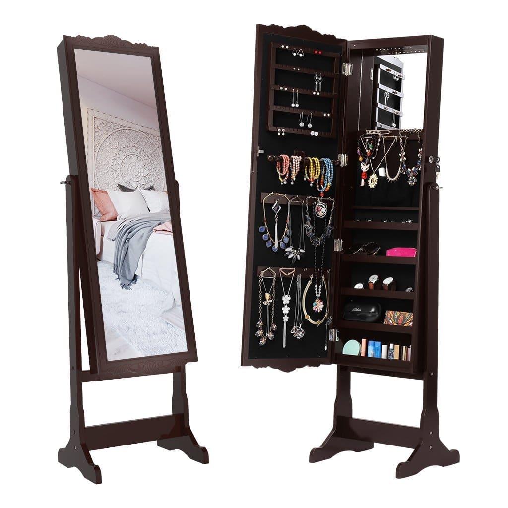ANGRIA Schmuckschrank Floralen Geschnitzt Spiegelschrank, mit LED Beleuchtung, Abschließbar, Aufbewahrung für Schmuck und Kosmetik