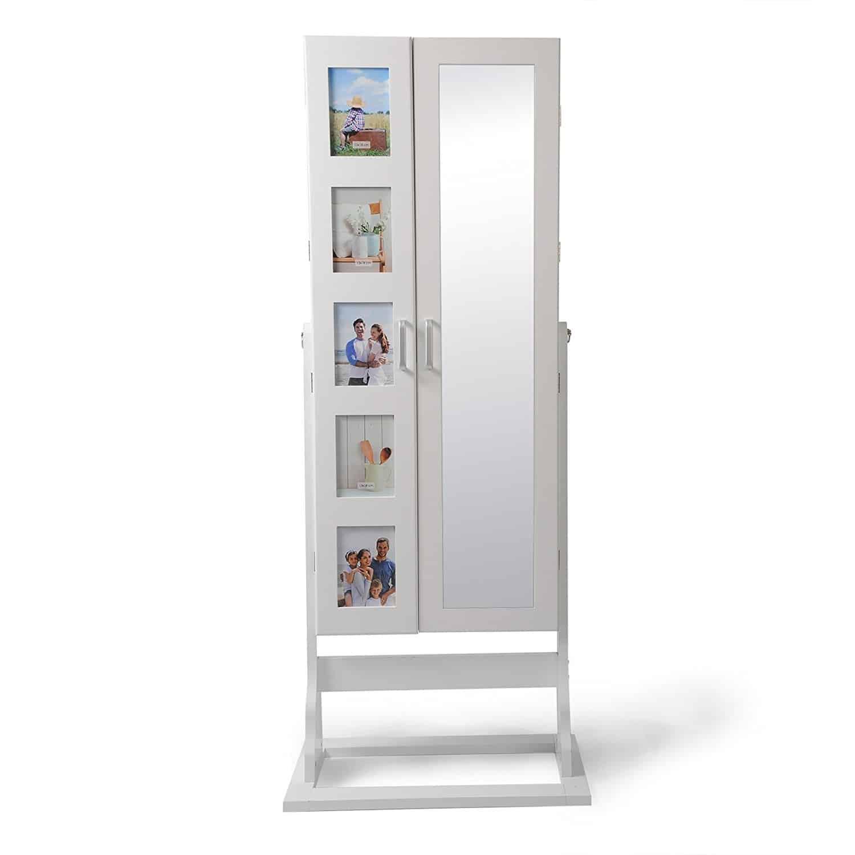 EUGAD XXL Schmuckschrank mit Bilderrahmen Standspiegel Spiegelschrank Schmuckregal Winkel Einstellbar Schmuckkasten mit 2 Türen, aus MDF Holz, weiß, MB0005ws