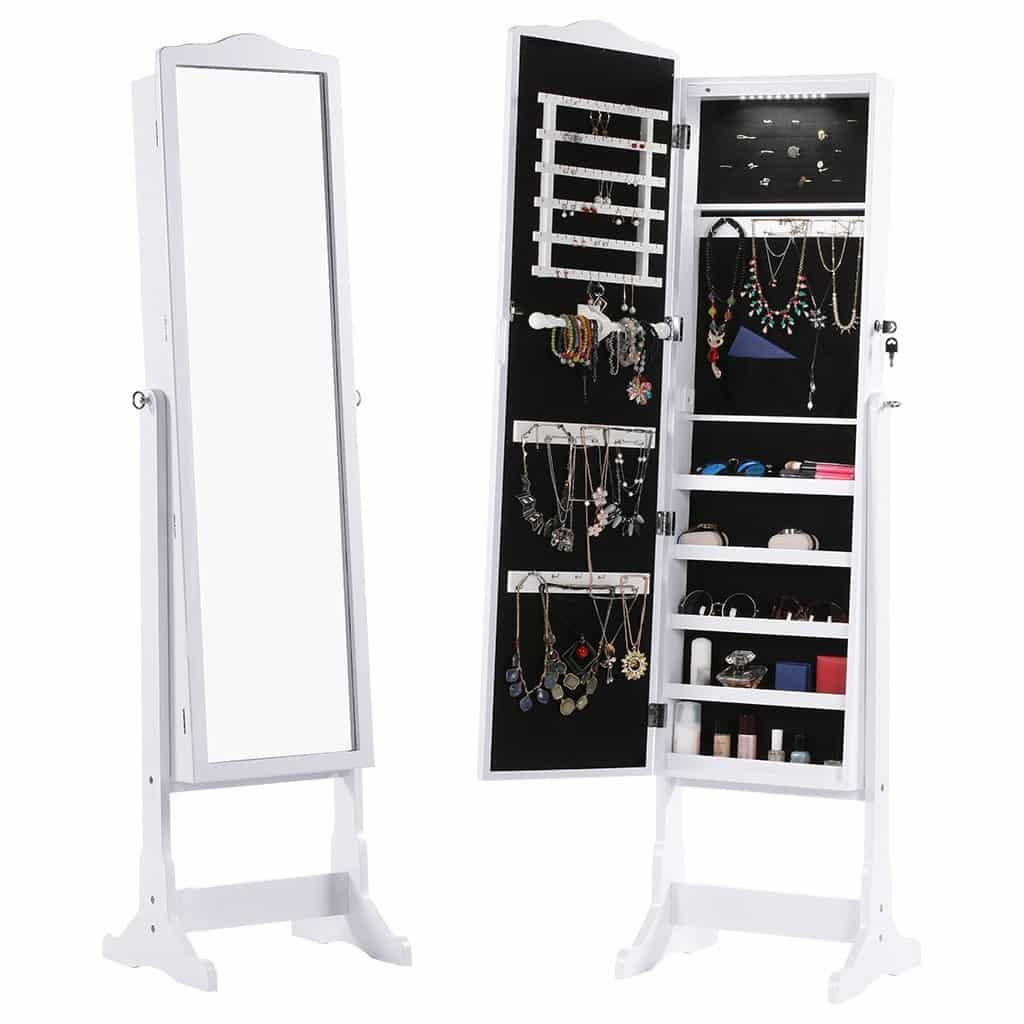 LANGRIA Schmuckschrank Abschließbar Spiegelschrank mit LED-Leuchten, 5 Regale Aufbewahrung für Ringe, Ohrringe, Armbänder, Broschen, Kosmetik (Weiß)