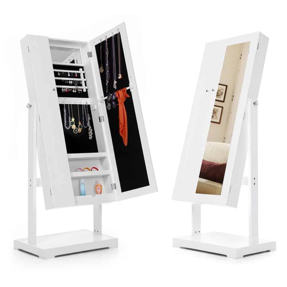 iKayaa Schmuckschrank Schminkschrank Schmuck mit Doppeltür 150 x 62 x 40 cm Weiß