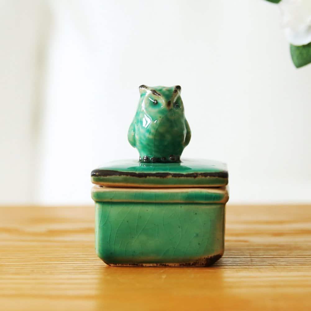American Vintage Keramik Schmuck-Box Eis riss EULE Schmuck-Box Haushalt Dekorationen living Zimmer Dekor-Ornamente