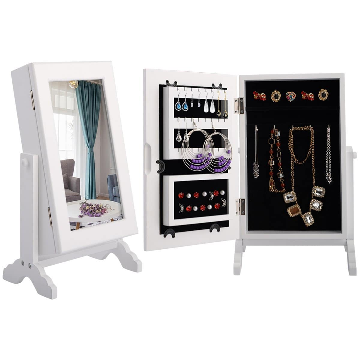 costway schmuckschrank schmuckregal standspiegel spiegelschrank schmuckkasten mit spiegel wei. Black Bedroom Furniture Sets. Home Design Ideas