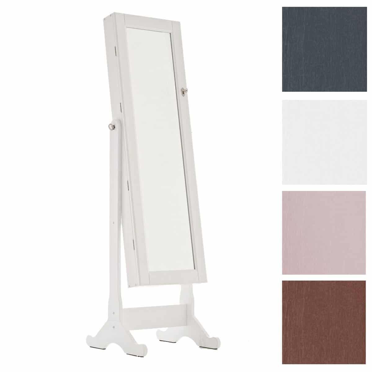 CLP Schmuckschrank AVA mit Spiegel | Spiegelschrank mit Holzgestell | Neigbarer Schmuckschrank mit Haken für Ketten und Steckplätzen für Ringe Weiß