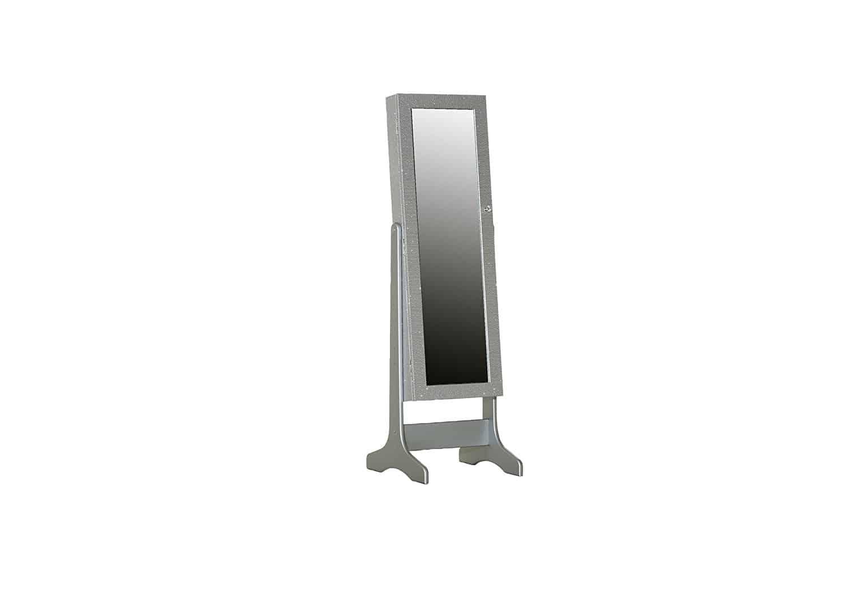 Stylefurniture 60495/919 Schmuckschrank mit Standfuß, Holz, silber, 45 x 50 x 150 cm