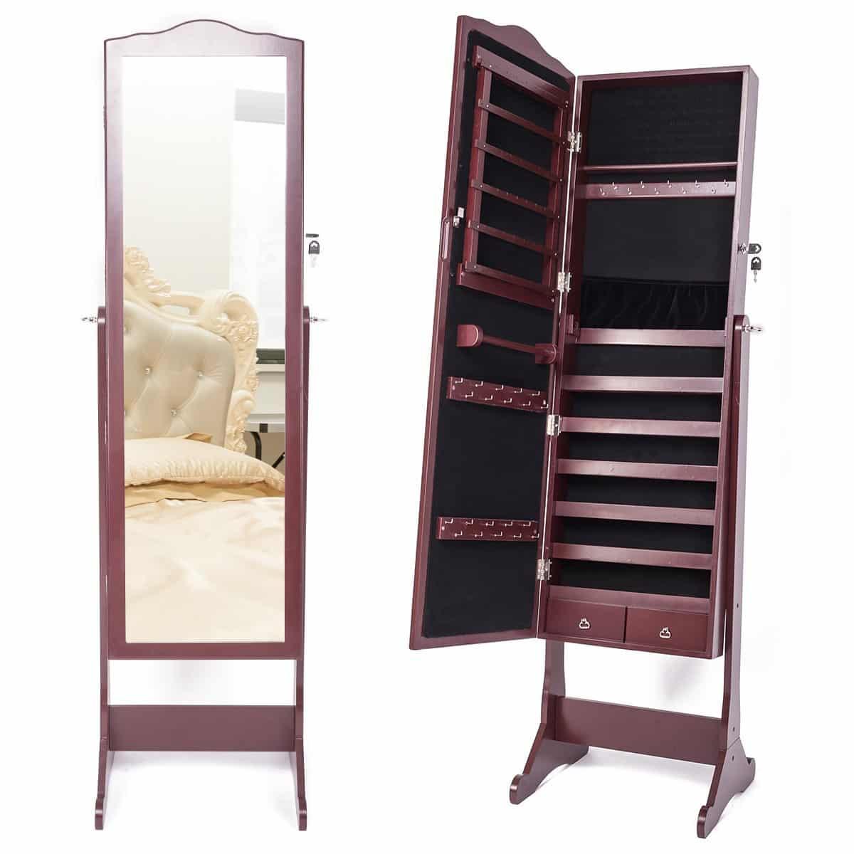 RMAN Schmuckschrank mit Spiegel Schmuckschrank Spiegelschrank Spiegel Schmuck Schrank Schmuckkasten Standspiegel Braun