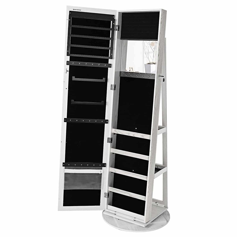 SONGMICS Schmuckschrank mit 160 cm hohem Spiegel abschließbar um 360° drehbar mit Leiterregal JBC62W