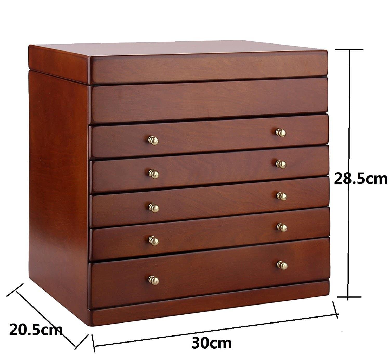 BELLAMORE GIFT Holz Schmuckkästen mit 5 Schubladen und Spiegel Schmuckkasten Schmuckschrank Aufbewahrung 30*21*29 CM BG008