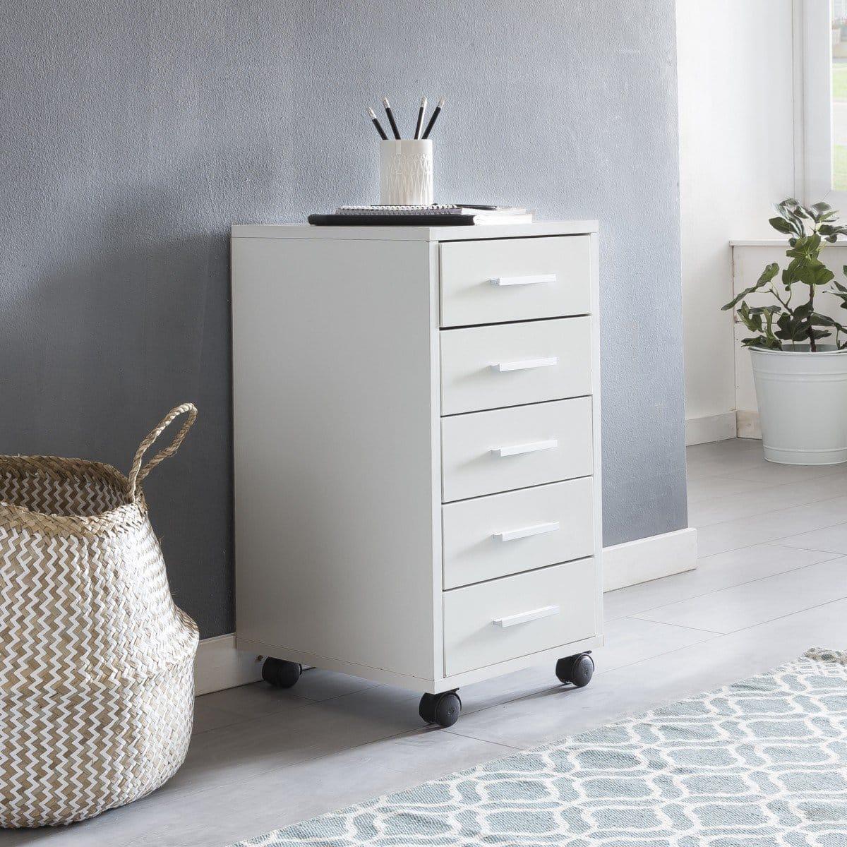 WOHNLING Rollcontainer LISA Weiß 33 x 63 x 38 cm Holz Schubladenschrank Schreibtisch | Büro Schrank mit 5 Schubladen | Container Rollschrank klein Standcontainer schmal | Schreibtischcontainer mit Rollen