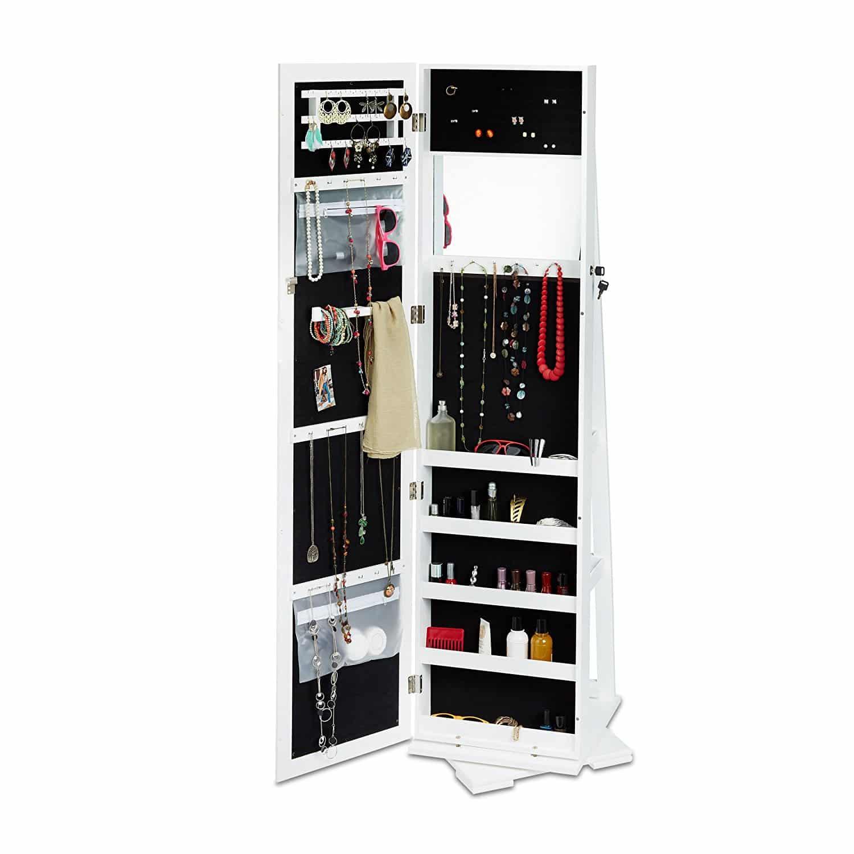Relaxdays Schmuckschrank weiß mit Spiegel, XXL-Schmuckkasten abschließbar, Spiegelschrank zum Drehen HBT: 161×39,5x40cm
