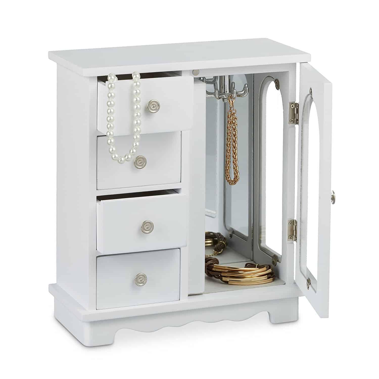 Relaxdays Schmuckkästchen mit Tür H x B x T: ca. 30 x 26 x 11 cm großer Schmuckkasten mit 4 Fächern Schmuckschrank aus Holz mit Schubladen und Spiegel Schränkchen mit Schmuckhalter für Ketten, weiß
