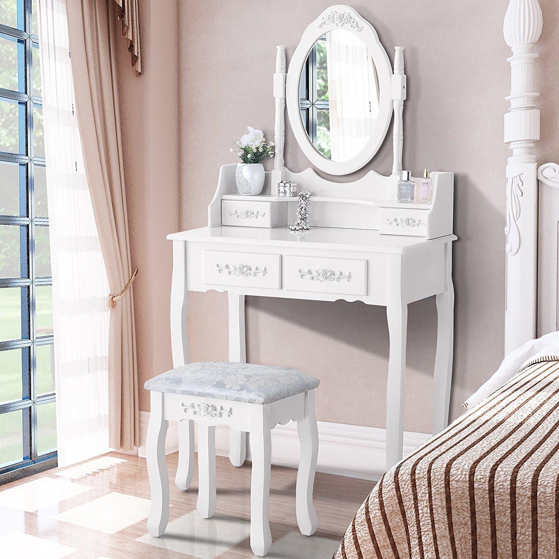 UEnjoy SUNCOO Luxuriös Schminktisch Weiß Kosmetiktisch mit Hocker mit Spiegel & 4 Schubladen