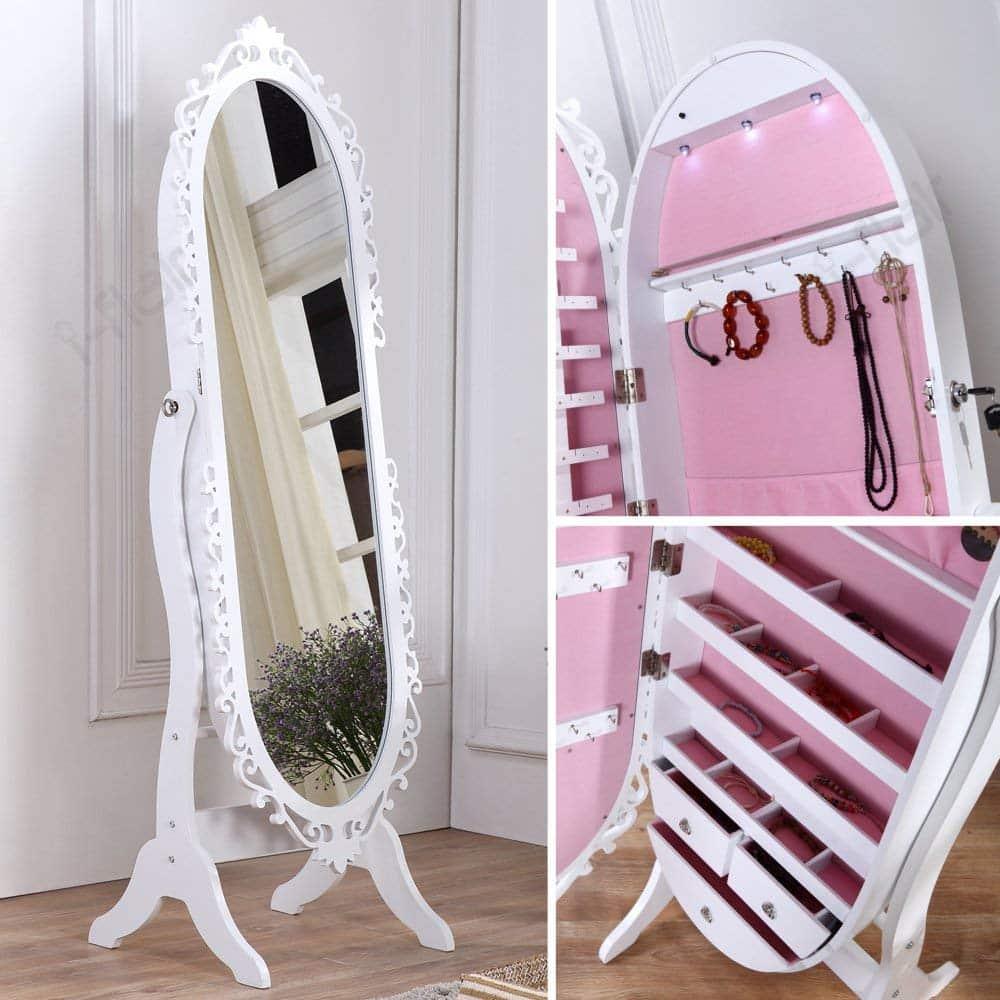 i-flair Schmuckschrank Standspiegel Spiegelschrank 163 cm weiß #37 H